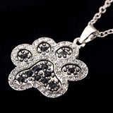 Silver/Black White Crystal Dog Paw Necklace