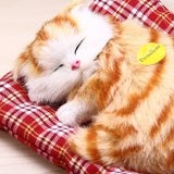 Adorable Simulated Sleeping Cat Toy with Sound