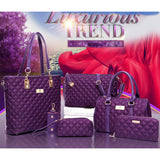 Diamond Lattice Women Oxford Business Bag Shoulder, Tote Bag, Handbag, Crossbody +Purse Sets