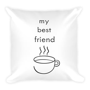 Coffee Black and White Square Pillow