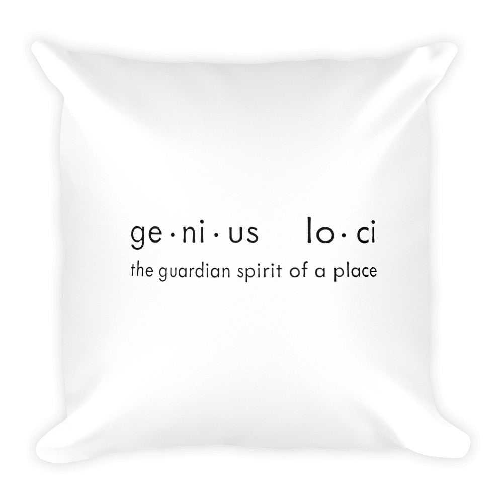 Genius Loci White and Black Square Pillow