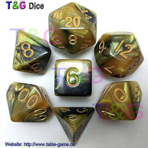 7 Piece Golden Digital Dice Set Dungeons and Dragons