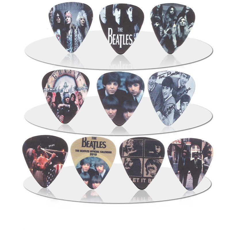 Ten Piece Beatles and Guns and Roses Guitar Picks