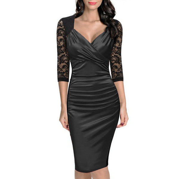 Elegant Lace Sleeve Evening Dress