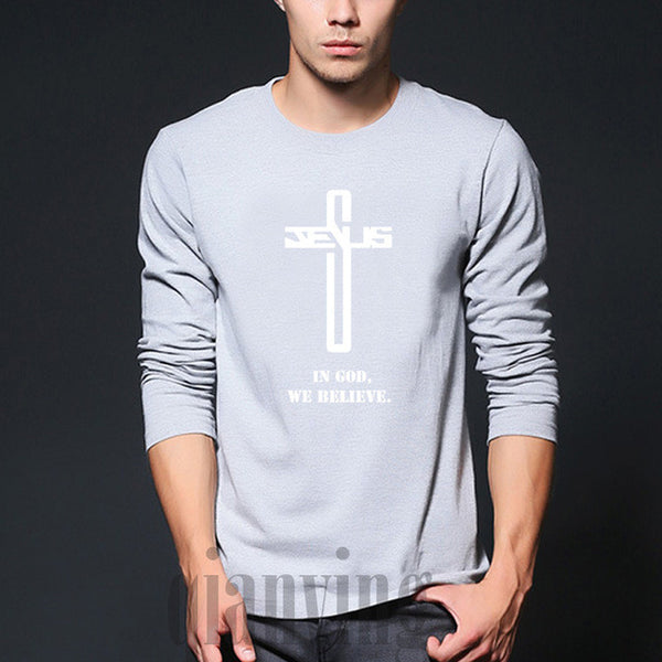 "Men's ""In God We Believe"" T-Shirt Christian Cross"