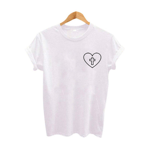 Women's Christian T-Shirt with Cross inside Heart Graphic