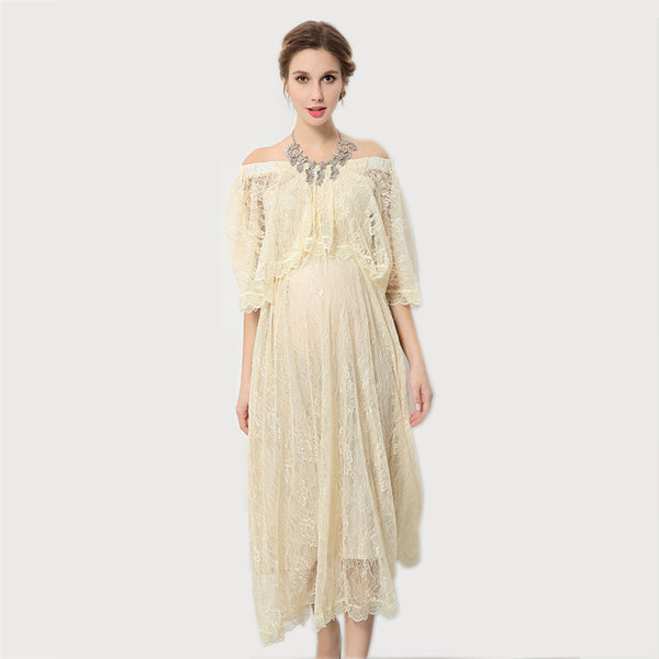 Maternity Lace Voile Long Dress