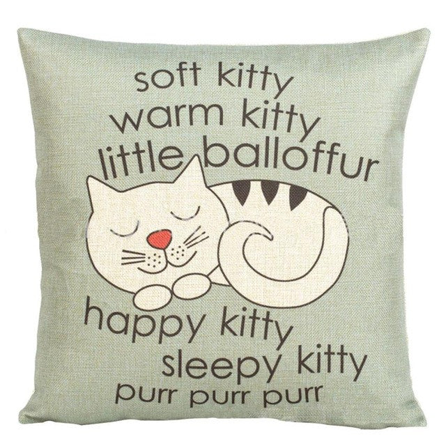 "Cat ""Little Ball of Fur"" Graphic Throw Pillow Cover"