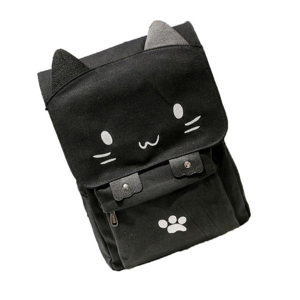 Cat Print Canvas Backpacks for Children