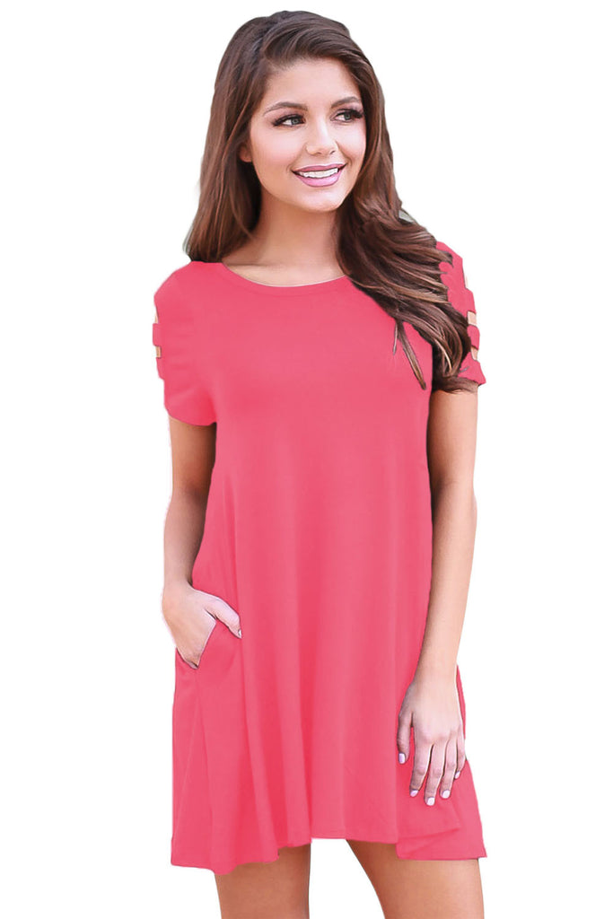 Women's Pink Banded Sleeve Casual Dress