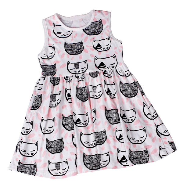 Toddler Girls Princess Dress with Cat Design