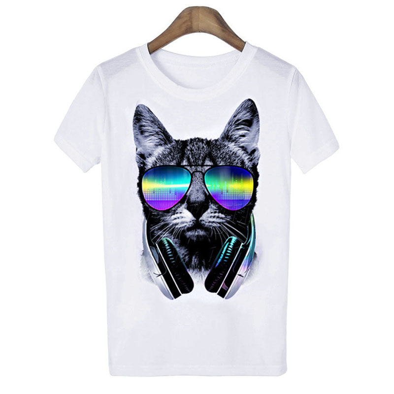 Women's T-Shirt with Cat in Sunglasses
