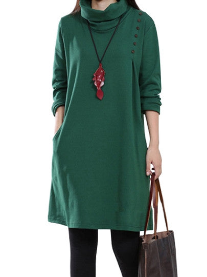 Cowl neck Collar Winter Women's Pullover Dress