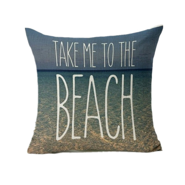 "Graphic Throw Pillow Cover ""Life is a Beach"""