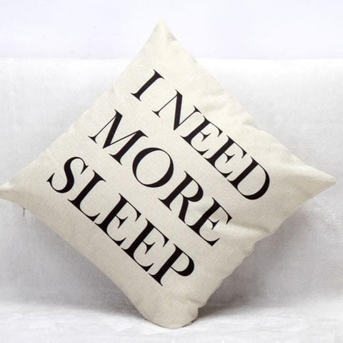 """I Need More Sleep"" Graphic Throw Pillow Cover"