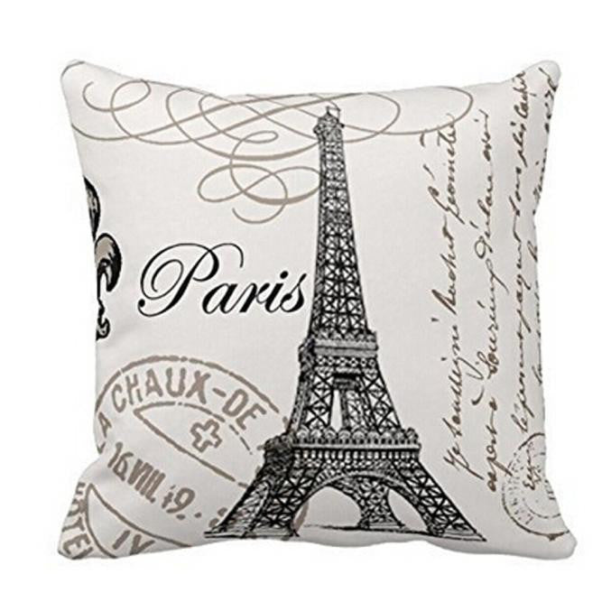 Paris Eiffel Tower Graphic Throw Pillow Cover