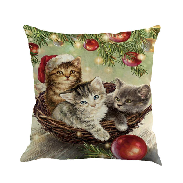 Christmas Cat Decorative Throw Pillow Cover