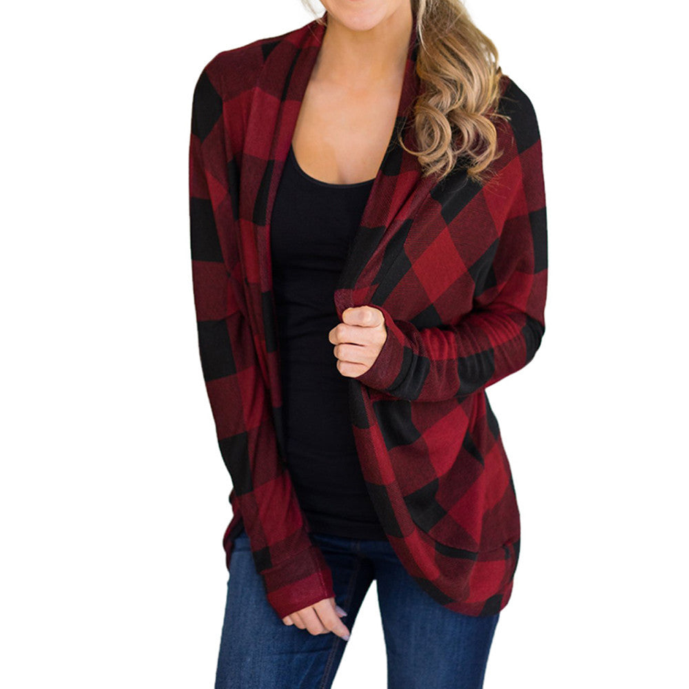 Women's Soft Plaid Sweater Jacket