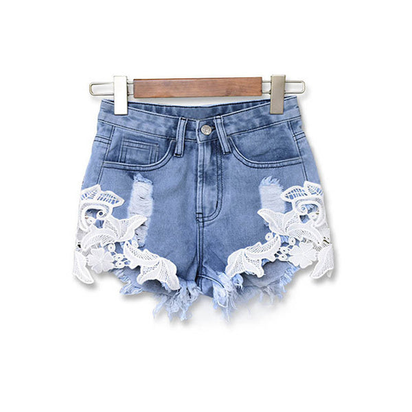 Ripped Denim Embroidered Women's Shorts