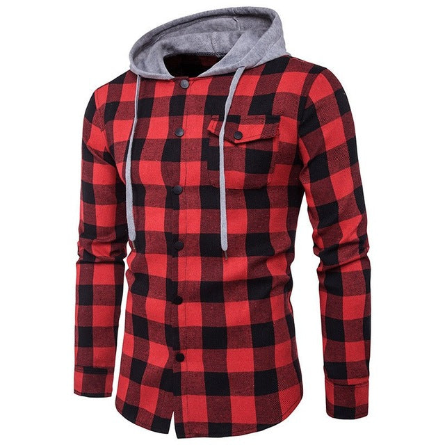 Men's Plaid Hooded Shirt