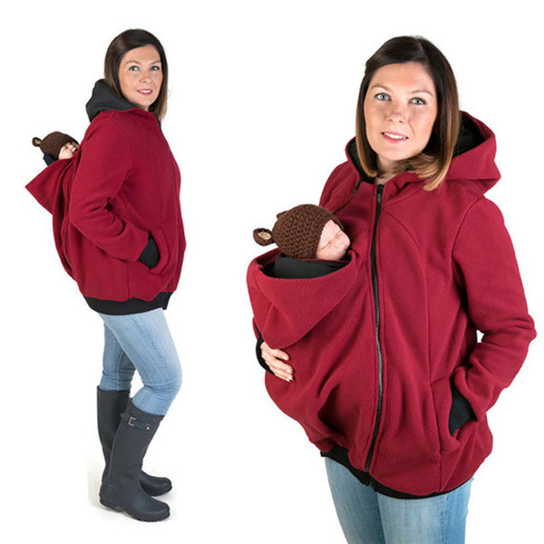 New Mother Winter Hooded Coverup with Baby Carrier Pocket