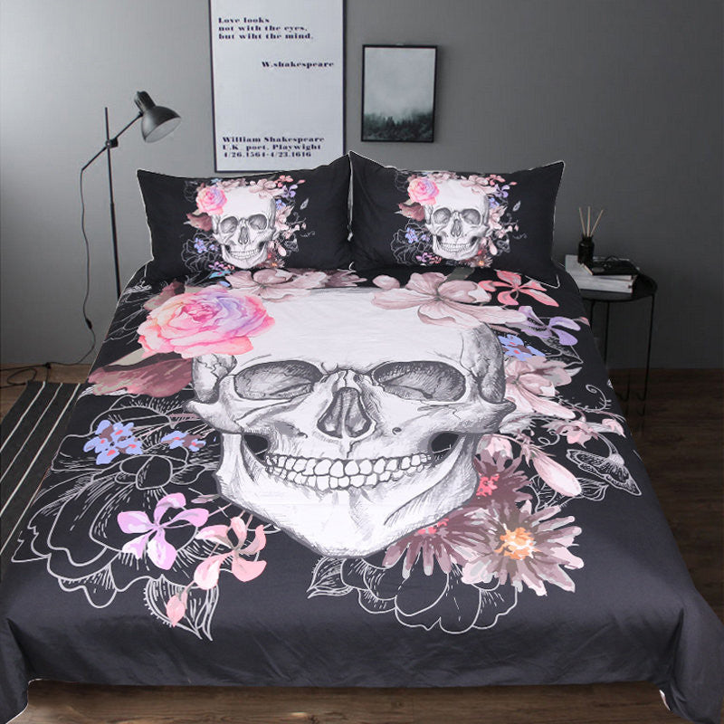 Sugar Skull and Floral Duvet Cover Set