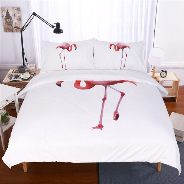 Pink Flamingo White Duvet Cover Set