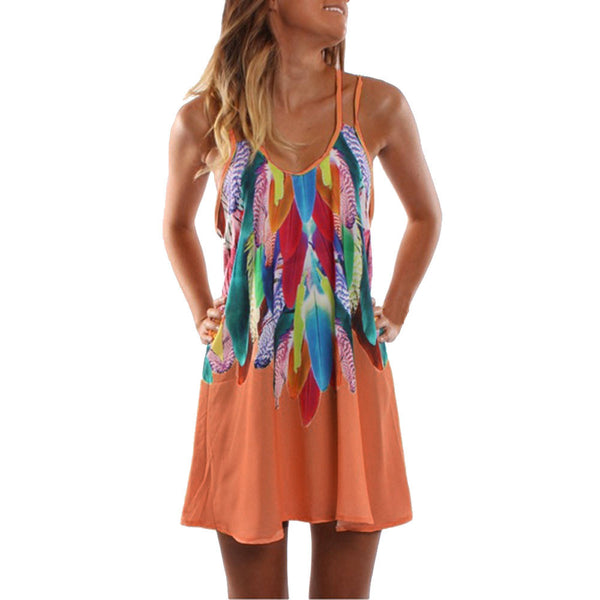 Women's Spaghetti Strap Colorful Sundress