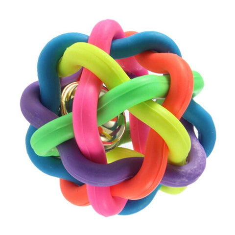 Colorful Rubber Ball Cat Toy With Bell