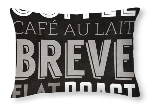 """Cafe au Lait"" Coffee Graphic Throw Pillow"