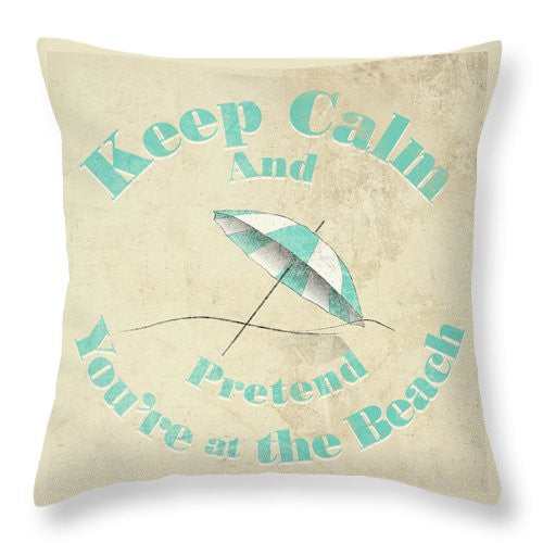 "Beach Design Graphic Throw Pillow ""Keep Calm"""