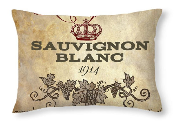 French Wine Label Graphic Throw Pillow