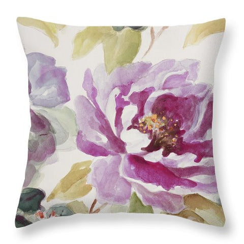Purple Floral Decorative Throw Pillow