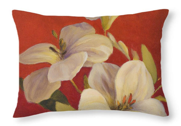 White Flowers Decorative Throw Pillow