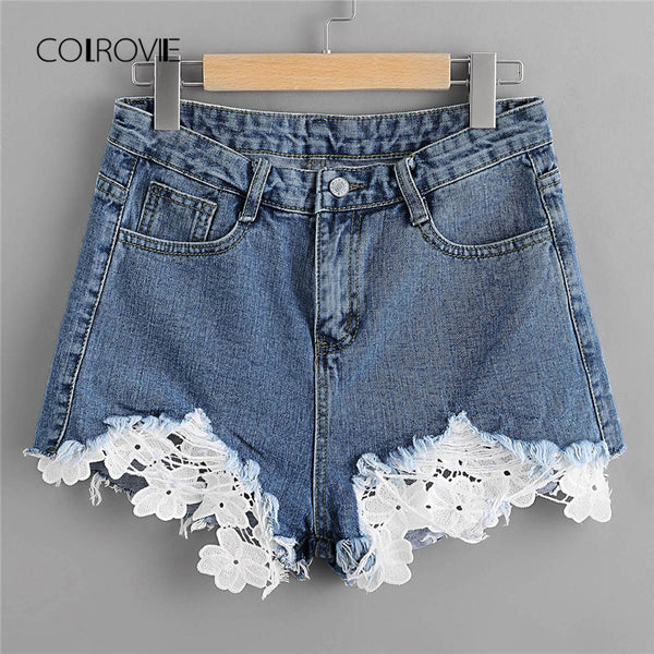 Women's Frayed Lace Denim Shorts