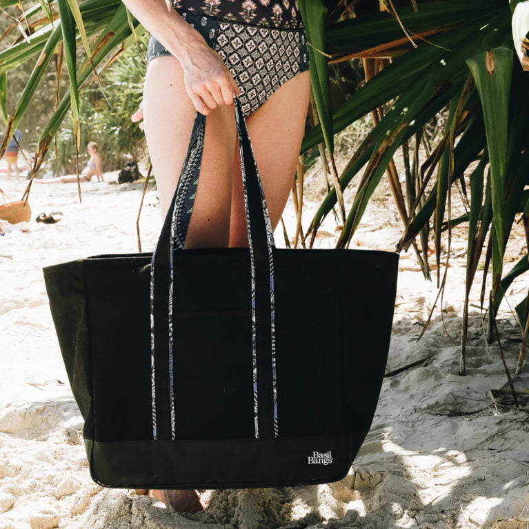 Basil Bangs The Daily Tote Black 1964 Beach Bag