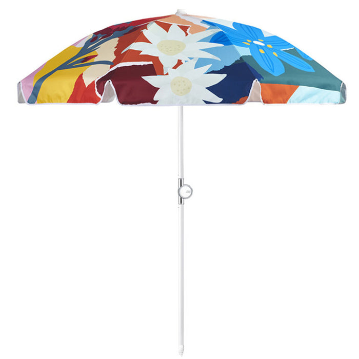 Basil Bangs - Beach Umbrella - Wildflowers by Leah Bartholomew