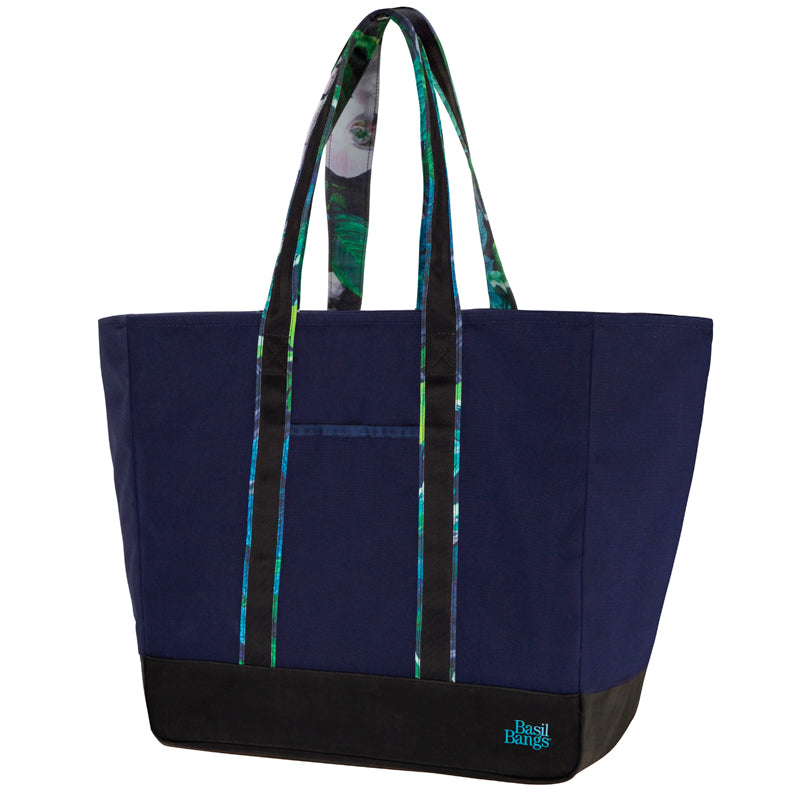 Basil Bangs The Daily Tote Navy Botanica Beach Bag