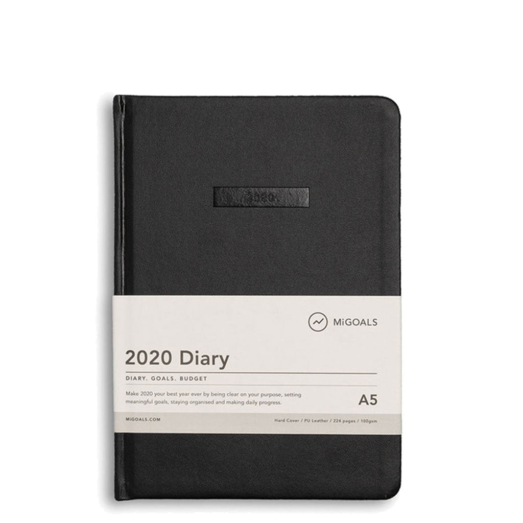 MiGoals - 2020 Classic Diary - A5 Hard Cover - Black