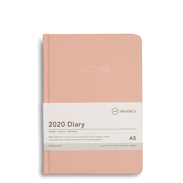 MiGoals - 2020 Classic Diary - A5 Hard Cover - Coral