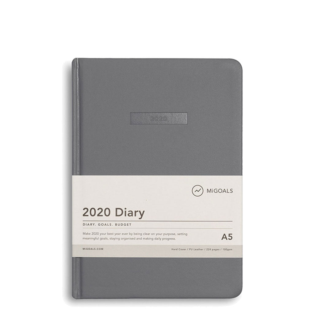 MiGoals - 2020 Classic Diary - A5 Hard Cover - Grey