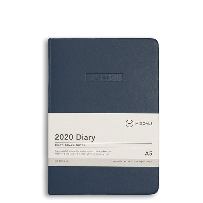 MiGoals - 2020 Classic Diary - A5 Soft Cover - Navy