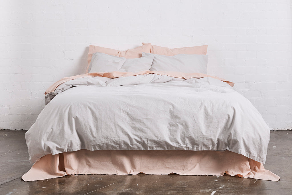 In Bed Washed Cotton Duvet Cover Queen Size Cloud