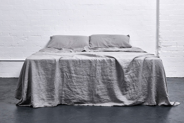 In Bed Linen Flat Sheet Cool Grey Queen Size