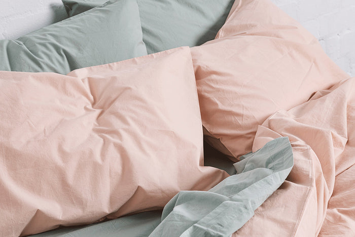 In Bed Washed Cotton Duvet Cover Queen Size Floss
