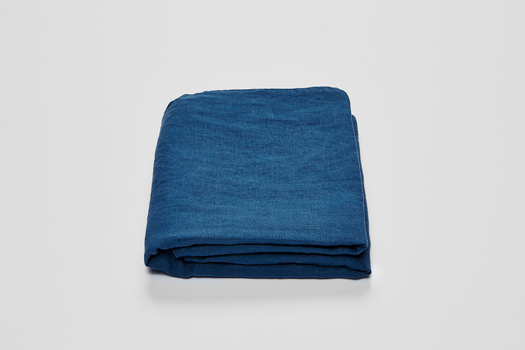 In Bed Linen Fitted Sheet Indigo King Size