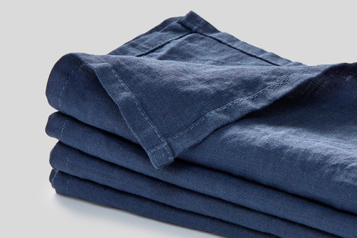 IN BED - Linen Napkin Set - French Blue