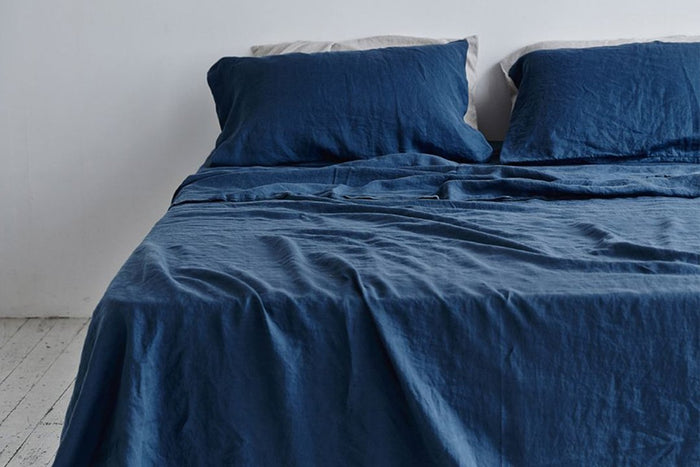 In Bed Linen Flat Sheet Indigo King Size