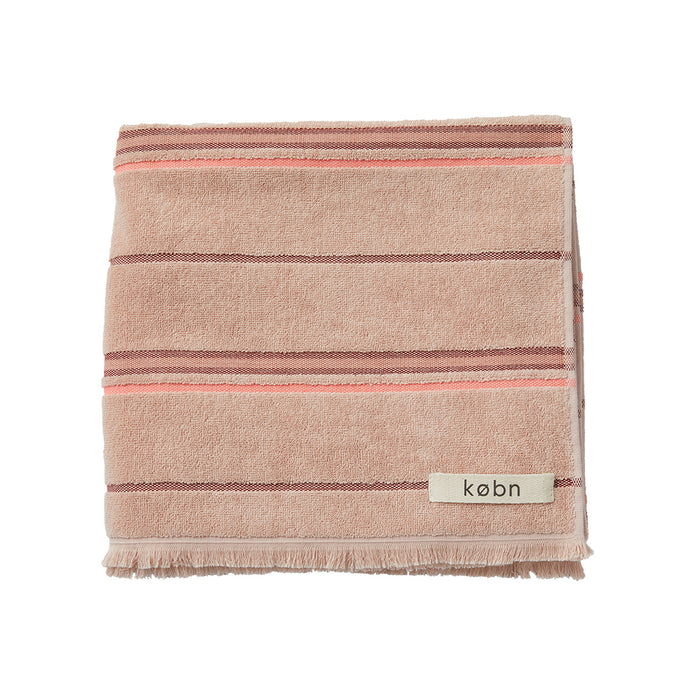 Købn Copenhagen style Bath beach Towel in Nude Rose Towel with stripes in a Cotton Polyester Stripes