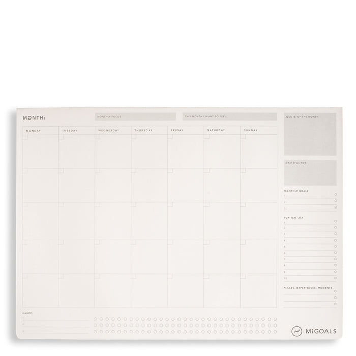 MiGoals - Monthly Desk Pad - A3